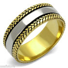 8.4 MM Wide Band Gold EP Silver Center Stainless Steel Mens Wedding Ring