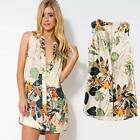 HOT Summer Sexy Women Sleeveless Floral Print Button Closure Party Mini Dress