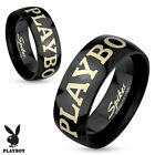 Black Stainless Steel Licensed Playboy Band Ring Size 5-13
