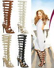 Ladies Womens Knee High Heel Gladiator Strappy Sandals Peep Toe Roman Shoes Size