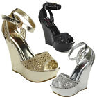 I HEART COLLECTION JACKY-09 Women's Ankle Strap Hollow Style Open Toe Wedges