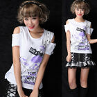 OPEN SHOULDER LOLITA GOTHIC SKULL SHIRT CUTE PUNK 71313 WHITE M-L