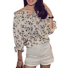 Woman Flower Prints Off The Shoulder 3/4 Sleeves Chiffon Top