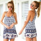 Sexy Women Sleeveless Chic Vintage Floral Print Backless Summer Beach Dress - CB