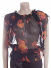 New Carbon Blouse Top Size 10 12 14 in Black with Orange & Pink Flowers Sheer