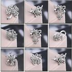 Fashion Wholesale Lot Silver Tone Crystal Women Jewelry Flower Bridal Brooch Pin