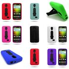 For LG Lucid 3 - Tough Kickstand Dual Layer Rugged Hybrid Phone Cover Case