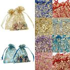 9*12cm Rose Floral Drawstring Organza Wedding Gift Favour Candy Bag Beads Pouch