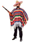 Adult Mens Poncho Fancy Dress Mexican Bandit Costume Western Cowboy Wild Mexico