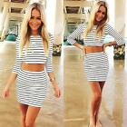 New Women's Striped Two-piece Crop Top and Skirt Bodycon O-Neck Dress DJNG