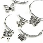 Expandable Wire Bangle Silver Plated Bracelet Single Charm Butterfly Series
