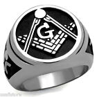 Masonic Mason Logo Silver Stainless Steel Epoxy Mens Ring