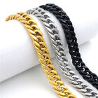 11mm Bold Men's Silver Gold Black Tone Curb 316L Stainless Steel Necklace Chain