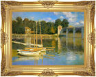 Framed The Bridge at Argenteuil by Claude Monet Painting Repro Canvas Art Print