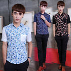 Fashion Men's Short Sleeveless Floral Printing Casual Slim T-Shirts Tops Blouses