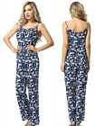 UK Womens Floral V-Neck Elegant Chiffon Siamese Trousers Jumpsuits Playsuits