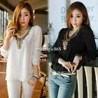 Fashion Women Summer Long Sleeve Rivet V-Neck Shirt Chiffon Tops Blouse T-Shirt