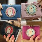 Women Girl Cartoon Cute Groundhog Embroidered Lace Mini Folded Short Wallet DJNG