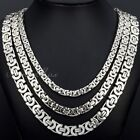 6/8/11MM Mens Chain Silver Flat Byzantine Link Stainless Steel Necklace 18-36''