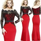 Women Formal Long Fishtail Bodycon Midi Lace Pencil Cocktail Party Evening Dress