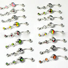 Cool Steel Dangle Navel Belly Button Bar Barbell Ball Ring Body Piercing
