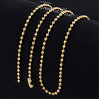 2mm Men Chain Ball Bead Link Silver/Gold/Black Stainless Steel Necklace 18-36''
