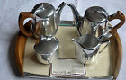 Vintage Retro Picquot Ware Tea Set Aladdin Tea Pot Water Jug Milk Tray Set