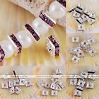 10pcs 6mm Silver Plated Crystal Square Loose Spacer Bead Fit Necklace Bracelet