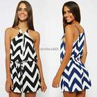 Summer Women Sleeveless Striped One-Piece Party Jumpsuit Rompers Playsuit Shorts