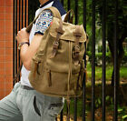 Men's Vintage Canvas Faux Leather Hiking Military Backpack Satchel School bag