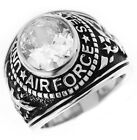 US Air Force Military Clear Oval Stone .925 Sterling Silver Mens Ring