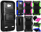 Cricket ZTE Sonata 2 COMBO Holster with Hard HYBRID KICK STAND Rubber Phone Case