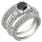 3 pieces 1.6CT Sterling Silver 925 Round Black CZ 3 Stones Set Ring Sz 5-10