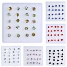 Fashion Women Girl Sparkly Angled Crystal Cube Ear Stud Box Earrings Elegant NEW