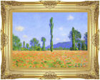 Framed Poppy Field by Claude Monet Painting Reproduction Canvas Giclee Fine Art