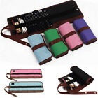Canvas Colored Pencil Pen Storage Folding Bag Pouch Pack Tool Wrap Roll Holder