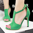 Roman Gladiator Peep Toe Sexy T Ankle Strap Cut Out High Heels Pumps Sandals Sz