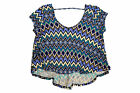 Ultra Flirt Chevron Tribal Print Short Sleeve Cut-Out Back Blouse - Pick Size