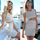 Sexy Women Stripe Crop Top Mini Skirt Set Party Evening Two Piece Set Dress N4U8