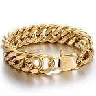 HEAVY 19mm Mens Chain Rombo Double Curb Link Gold 316L Stainless Steel Bracelet