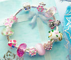 angel charm bracelet pink childrens teenagers womens gift box or pouch