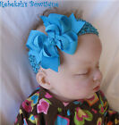Turquoise Unique Exclusive Infant Girls Hair Bow Headband Summer Bowband Baby