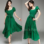 Irregular Ball Dress Bow-tie Pleated Large Hem Long Summer Dress Round Neck