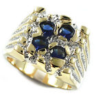 Four Montana Blue Stone Gold EP Two Tone Mens Ring