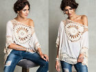OFF WHITE 250 CROCHET CIRCLE TUNIC Top 3/4 Sleeve Bohemian Boho Shirt NEW S M L
