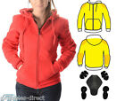 Ladies Red Motorcycle Hoodie Full Lined with Knitted Dupont™ Kevlar® CE Armour