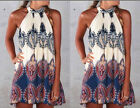 2015 Womens Mini Playsuit Jumpsuit Summer Skirts Beach Print Boho Dress