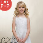 Dressed Girl White Satin Embroidered With Straps Perfect Bolero First Communion