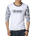 Men Round Neck Long Sleeves Letters Prints Casual T-Shirts