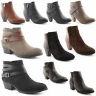 New Womens Ladies Mid High Heel Chelsea Low Ankle Boots Chunky Block Shoes 3-8